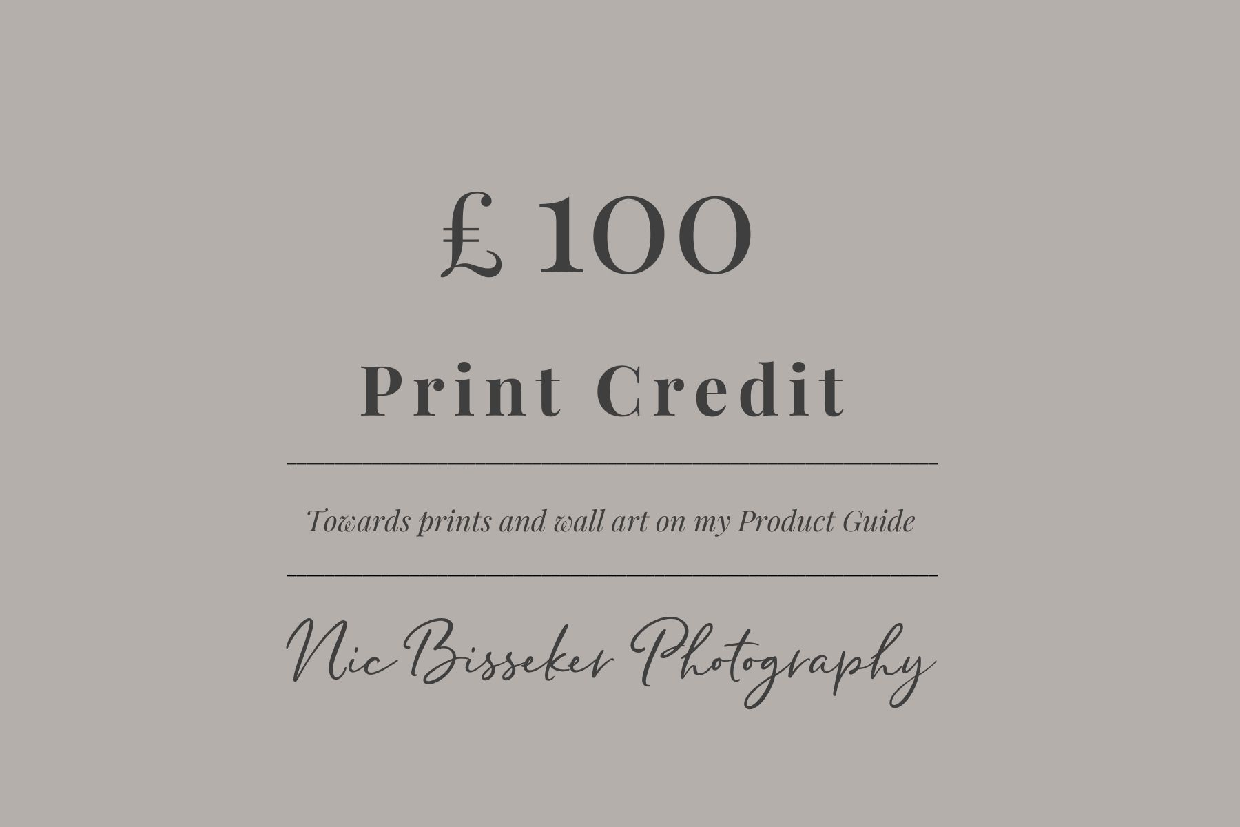 Nic Bisseker photography pricing